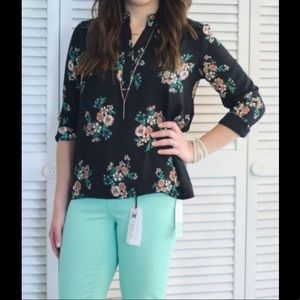 Collective Concepts Black Floral Blouse